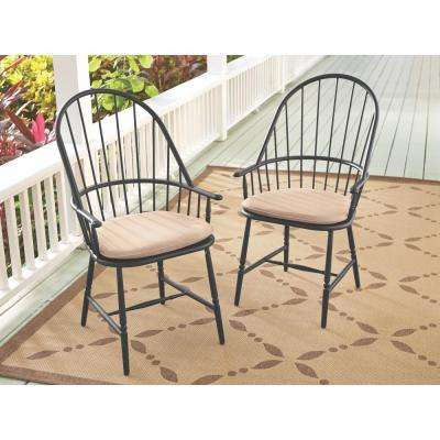 Blue Hill Black Aluminum Outdoor Dining Chairs with Beige/Tan Cushions (2-Pack)