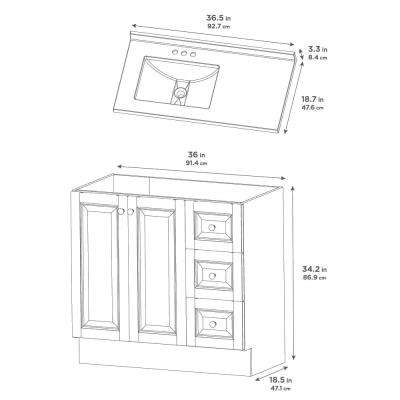 Northwood 37 in. W x 19 in. D Bathroom Vanity in Dusk with Solid Surface Vanity Top in Silver Ash with White Sink