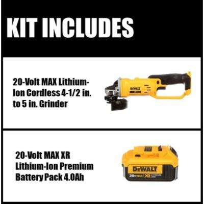 20-Volt MAX Lithium Ion Cordless 4-1/2 in. Grinder (Tool-Only) with Free 20-Volt MAX XR Lithium Ion Battery Pack 4.0Ah