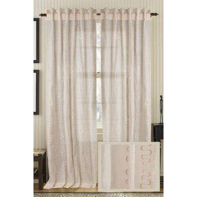 Bleached Sand LUSTRE Cotton Org Rod Pocket Curtain - 50 in.W x 96 in. L