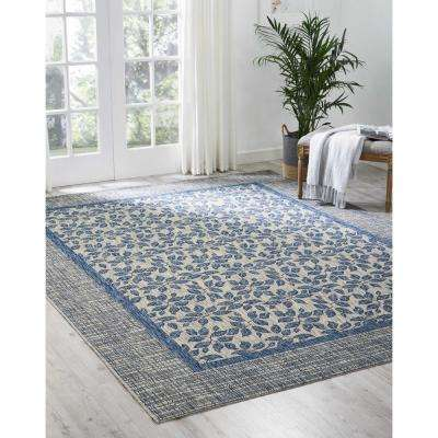 Country Side Ivory Blue 8 ft. x 11 ft. Indoor/Outdoor Area Rug