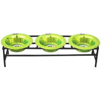 1 Cup Wrought Iron Triple Modern Diner Cat/Puppy Stand with Extra Wide Rimmed Bowls in Lime