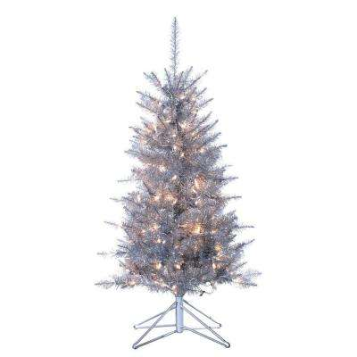 4 ft. Pre-Lit Tiffany Silver Tinsel Artificial Christmas Tree with Clear Lights
