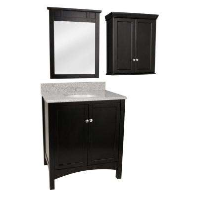 Haven 31 in. Vanity in Espresso with Granite Vanity Top and Mirror in Napoli and Wall Cabinet