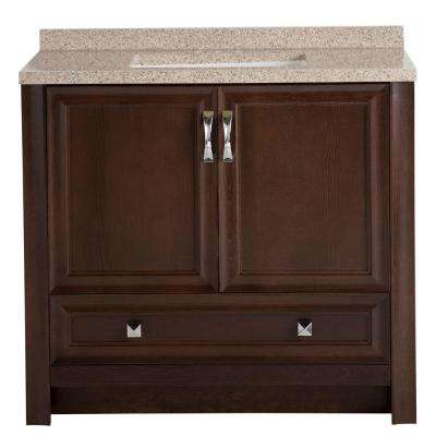 Candlesby 36.5 in. W x 18.75 in. D x 34.13 in. H Vanity in Cognac with Solid Surface Vanity Top in Autumn with Basin