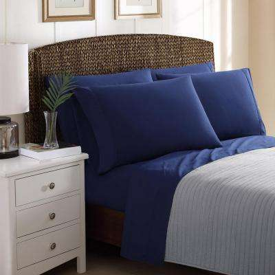 6-Piece Solid Navy Blue Queen Sheet Sets