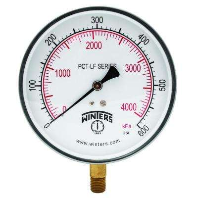 PCT-LF Series 4.5 in. Lead-Free Brass Stainless Steel Pressure Gauge with 1/4 in. NPT LM and 0-600 psi/kPa