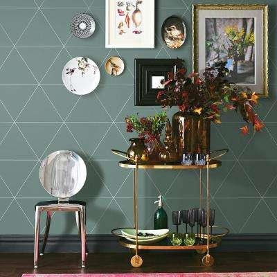 56.4 sq. ft. Twilight Green Geometric Wallpaper