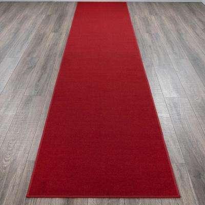 Ottohome Collection Carpet Aisle Design Red 2 ft. x 12 ft. Runner Rug