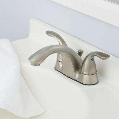 Builders 4 in. Centerset 2-Handle Low-Arc Bathroom Faucet in Brushed Nickel