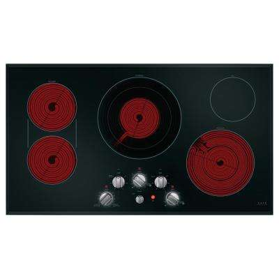 36 in. Radiant Electric Cooktop in Black and Brushed Stainless with 5 Elements including Sync-Burners