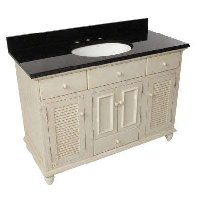 Cottage 49 in. W x 22 in. D Vanity in Antique White with Granite Vanity Top in Black