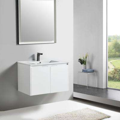 18 in. W x 19 in. D x 31 in. H White Wall-Mounted Single Bathroom Vanity with Vanity Top in White with White Basin