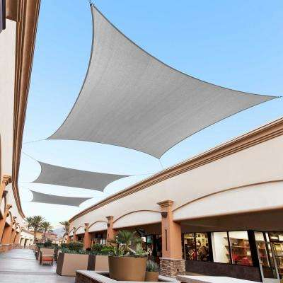 12 ft. x 12 ft. 190 GSM Grey Square Sun Shade Sail Screen Canopy, Outdoor Patio and Pergola Cover