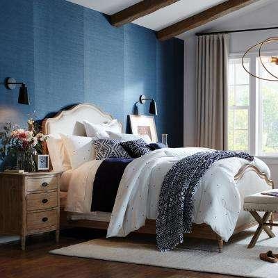 56.4 sq. ft. Sea Grass Blue Faux Grasscloth Wallpaper