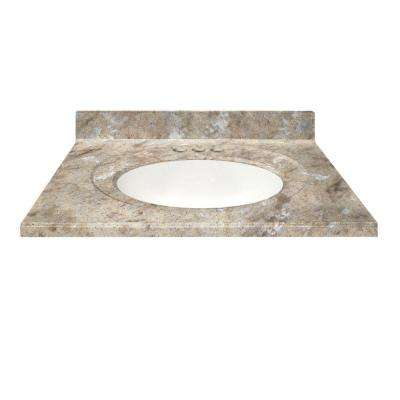 37 in. Cultured Veined Granite Vanity Top in River Bottom Color with Integral Backsplash and White Bowl