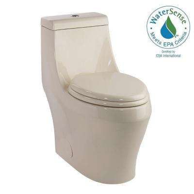 1-piece 1.28 GPF Single Flush Elongated Toilet in Biscuit