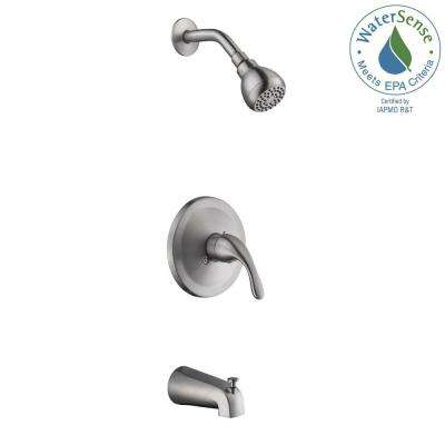 Builders 1-Handle 1-Spray Tub and Shower Faucet in Brushed Nickel