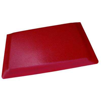 Hide Double Sponge Pebble Brushed Red Surface 24 in. x 36 in. Vinyl Kitchen Mat