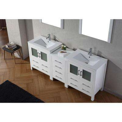 Dior 79 in. W Bath Vanity in White with Ceramic Vanity Top in Slim White Ceramic with Square Basin and Mirror and Faucet