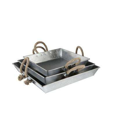 3-Piece Square Tray Set in Galvanized Metal with Rope Handles