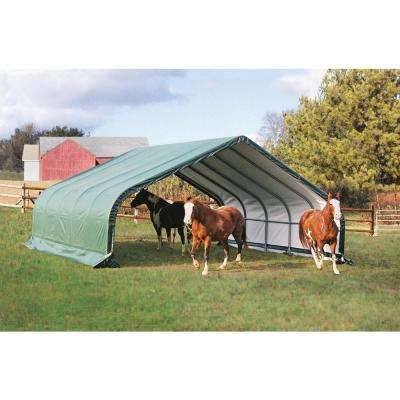 22 ft. W x 24 ft. D x 12 ft. H AG Series Peak All-Steel Run-In Shelter in Green with zippers and 100% Waterproof Fabric
