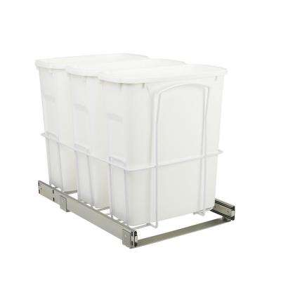 14.375 in. x 22 in. x 17.313 in. 20 Qt. In-Cabinet Triple Soft-Close Bottom-Mount Pull-Out Trash Can