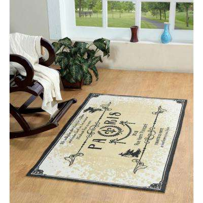 Paris Printed Typography Cotton Natural 2 ft. x 3 ft. Area Rug