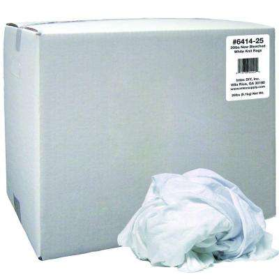 20 lbs. New Bleached White Knit Rags Box