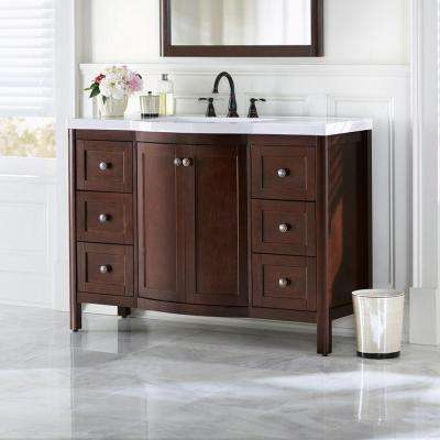 Madeline 49 in. W Vanity in Chestnut with Cultured Marble Vanity Top in White
