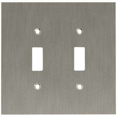 Concave 2 Toggle Switch Wall Plate - Satin Nickel