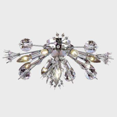 Starburst 10-Light Chrome with Clear Crystal Ceiling Light