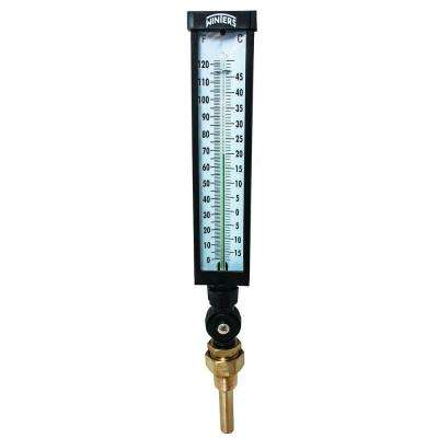 9 in. Valox Industrial Thermometer with 3/4 in. NPT Lead-Free Brass Thermowell and Temperature Range of 0 to 120 F/C