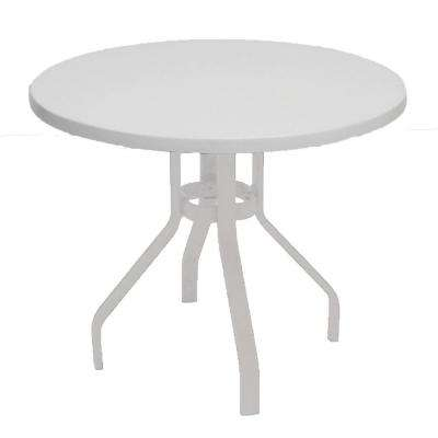 White Round Commercial Fiberglass Patio Dining Table