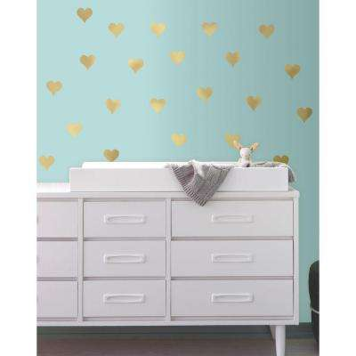 5 in. W x 11.5 in. H Gold Heart 24-Piece Peel and Stick Wall Decal