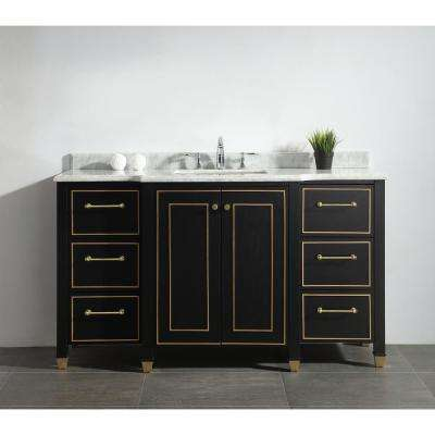 Florence 60 in. W Vanity in Black with Marble Vanity Top in White with White Sink
