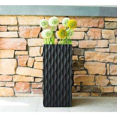 Medium Lightweight Concrete Modern Rough Surface Rectangle Black Planter