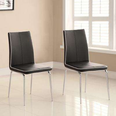 Bergen Black Faux Leather Contemporary Side Chair (Set of 2)