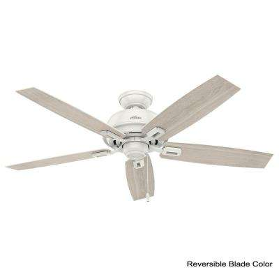 Donegan 52 in. LED Indoor Fresh White Ceiling Fan with 3-Light bundled with Handheld Remote Control