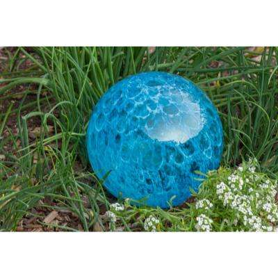 7 in. Art Glass Solar Gazing Ball, Aqua Glow