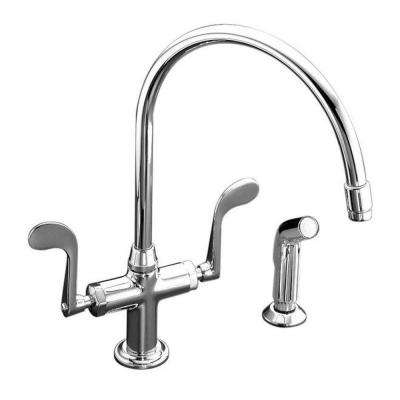 Essex 2-Handle Standard Kitchen Faucet with Side Sprayer in Polished Chrome