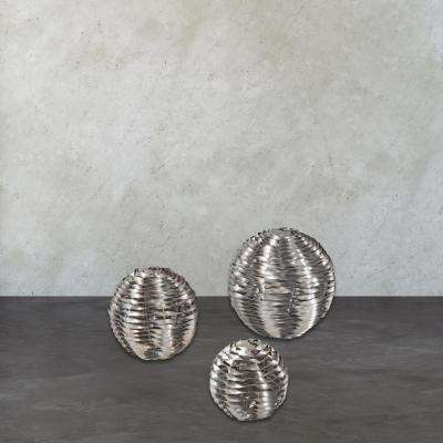 6 in. x 8 in. x 10 in. Decorative Silver Leaf Metal Work Objects Sculpture (Set of 3)