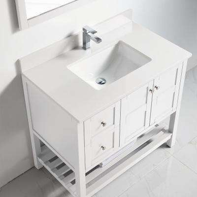 35 in. H x 34 in. W x 21 in. D Bath Vanity in White with Porcelain White Top and Sink