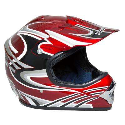 Youth Large MX Helmet in Red Gray