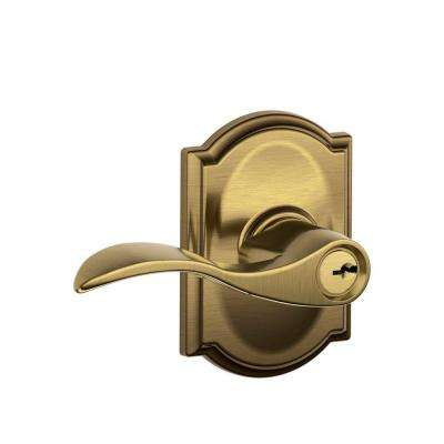 Camelot Collection Antique Brass Accent Keyed Entry Lever