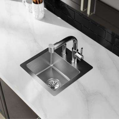 Crosstown Drop-In/Undermount Stainless Steel 15 in. 2-Hole Single Bowl Bar Sink