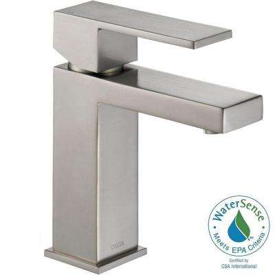 Modern Single Hole Single-Handle Bathroom Faucet with Metal Drain Assembly in Stainless