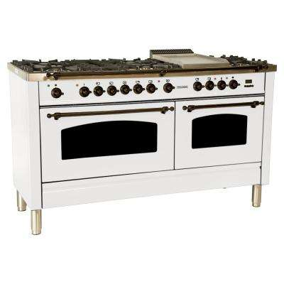 60 in. 6 cu. ft. Double Oven Dual Fuel Italian Range with True Convection, 8 Burners, Griddle, Bronze Trim in White