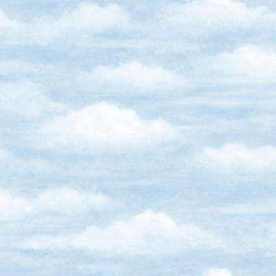 56.4 sq. ft. Daydreamer Blue Clouds Faux Effects Wallpaper