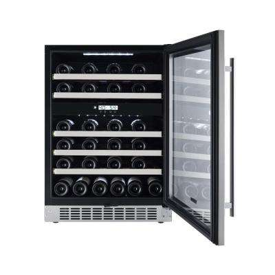 46-Bottle Seamless Stainless Steel Dual Zone Built-In Wine Cooler